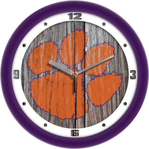 Clemson Tigers - Weathered Wood Wall Clock - SuntimeDirect
