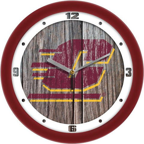 Central Michigan Chippewas - Weathered Wood Wall Clock - SuntimeDirect