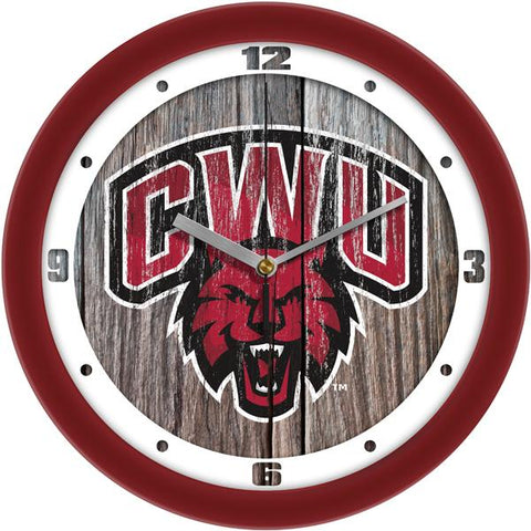 Central Washington Wildcats - Weathered Wood Wall Clock - SuntimeDirect