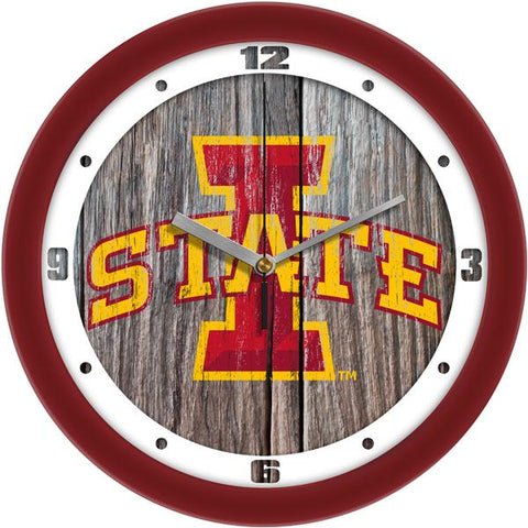 Iowa State Cyclones - Weathered Wood Wall Clock - SuntimeDirect