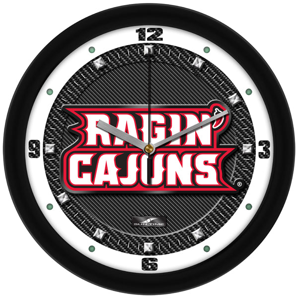 Louisiana Ragin' Cajuns - Carbon Fiber Textured Wall Clock - SuntimeDirect