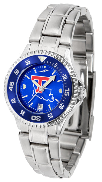 Louisiana Tech Bulldogs - Competitor Ladies' Steel AnoChrome  -  Color Bezel - SuntimeDirect