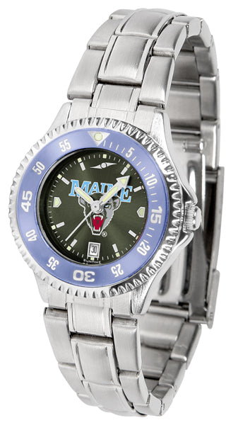 Maine Black Bears - Competitor Ladies' Steel AnoChrome  -  Color Bezel - SuntimeDirect