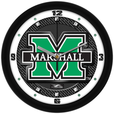 Marshall University Thundering Herd - Carbon Fiber Textured Wall Clock