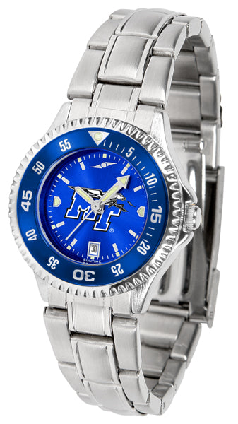 Middle Tenn. State Blue Raiders - Competitor Ladies' Steel AnoChrome  -  Color Bezel - SuntimeDirect