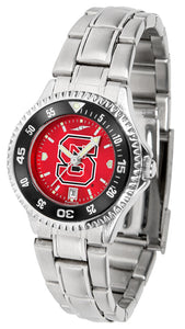 NC State Wolfpack - Competitor Ladies' Steel AnoChrome  -  Color Bezel - SuntimeDirect
