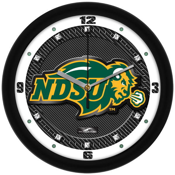 North Dakota State Bison - Carbon Fiber Textured Wall Clock - SuntimeDirect