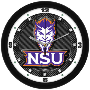 Northwestern State Demons - Carbon Fiber Textured Wall Clock - SuntimeDirect
