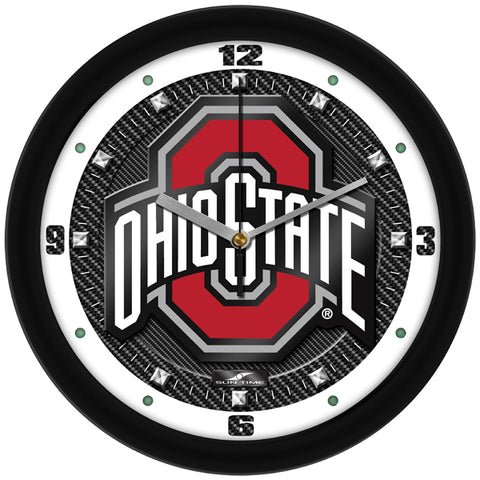 Ohio State Buckeyes - Carbon Fiber Textured Wall Clock - SuntimeDirect