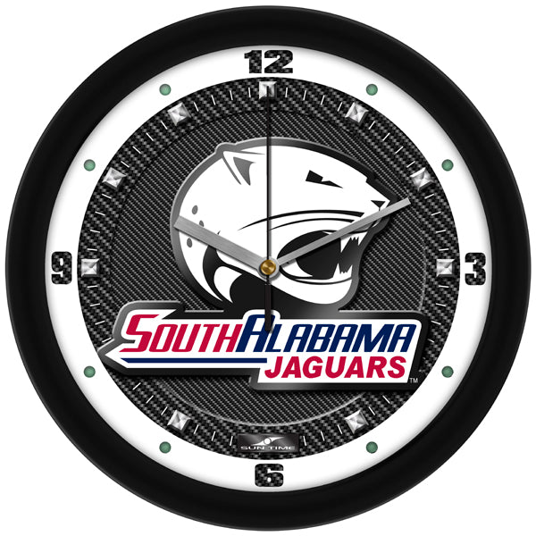 South Alabama Jaguars - Carbon Fiber Textured Wall Clock - SuntimeDirect