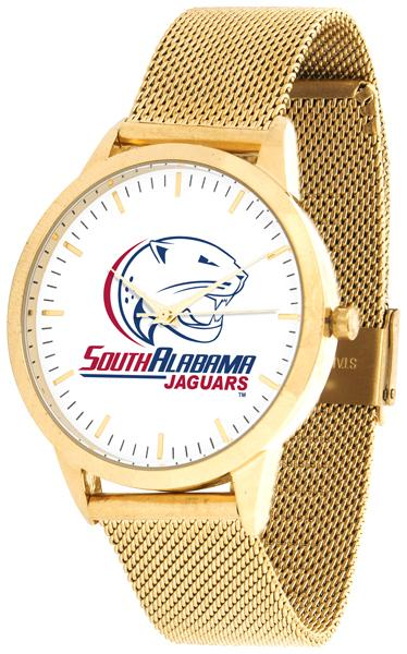 South Alabama Jaguars - Mesh Statement Watch - Gold Band