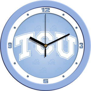 Texas Christian Horned Frogs - Baby Blue Wall Clock