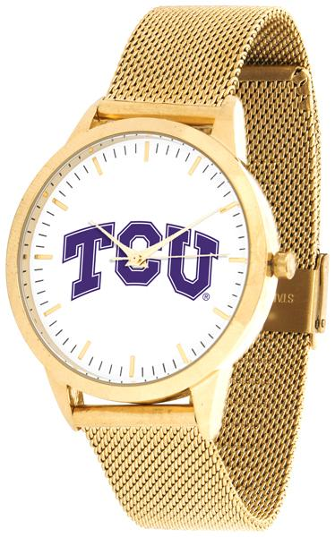 Texas Christian Horned Frogs - Mesh Statement Watch - Gold Band