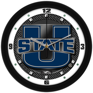 Utah State University Aggies - Carbon Fiber Textured Wall Clock - SuntimeDirect