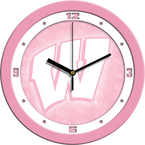 Wisconsin Badgers - Pink Wall Clock