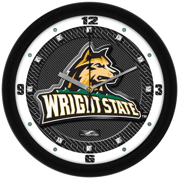 Wright State Raiders - Carbon Fiber Textured Wall Clock