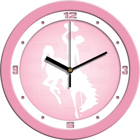 Wyoming Cowboys - Pink Wall Clock
