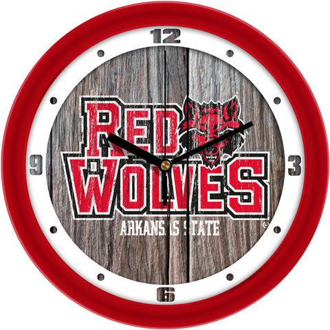 Arkansas State Red Wolves - Weathered Wood Wall Clock
