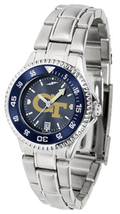 Georgia Tech Yellow Jackets - Competitor Ladies' Steel AnoChrome  -  Color Bezel - SuntimeDirect