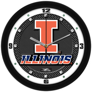 Illinois Fighting Illini - Carbon Fiber Textured Wall Clock - SuntimeDirect