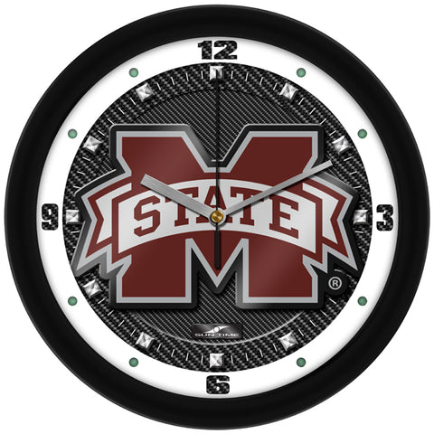 Mississippi State Bulldogs - Carbon Fiber Textured Wall Clock