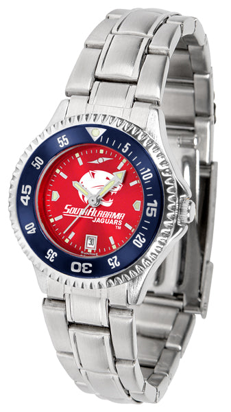South Alabama Jaguars - Competitor Ladies' Steel AnoChrome  -  Color Bezel - SuntimeDirect