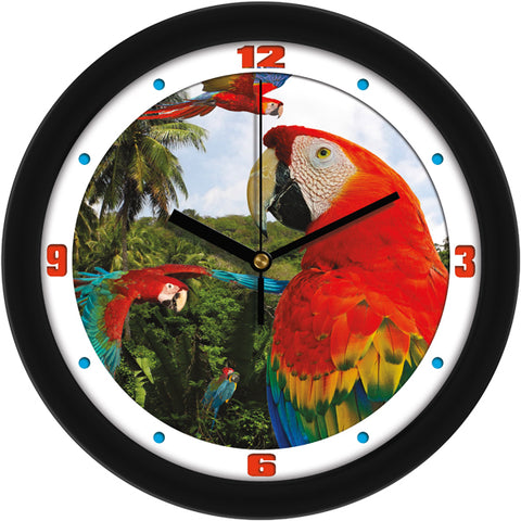 Colorful Tropical Macaw Parrots Decorative Wall Clock