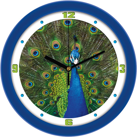 Colorful Regal Peacock Bird Decorative Wall Clock