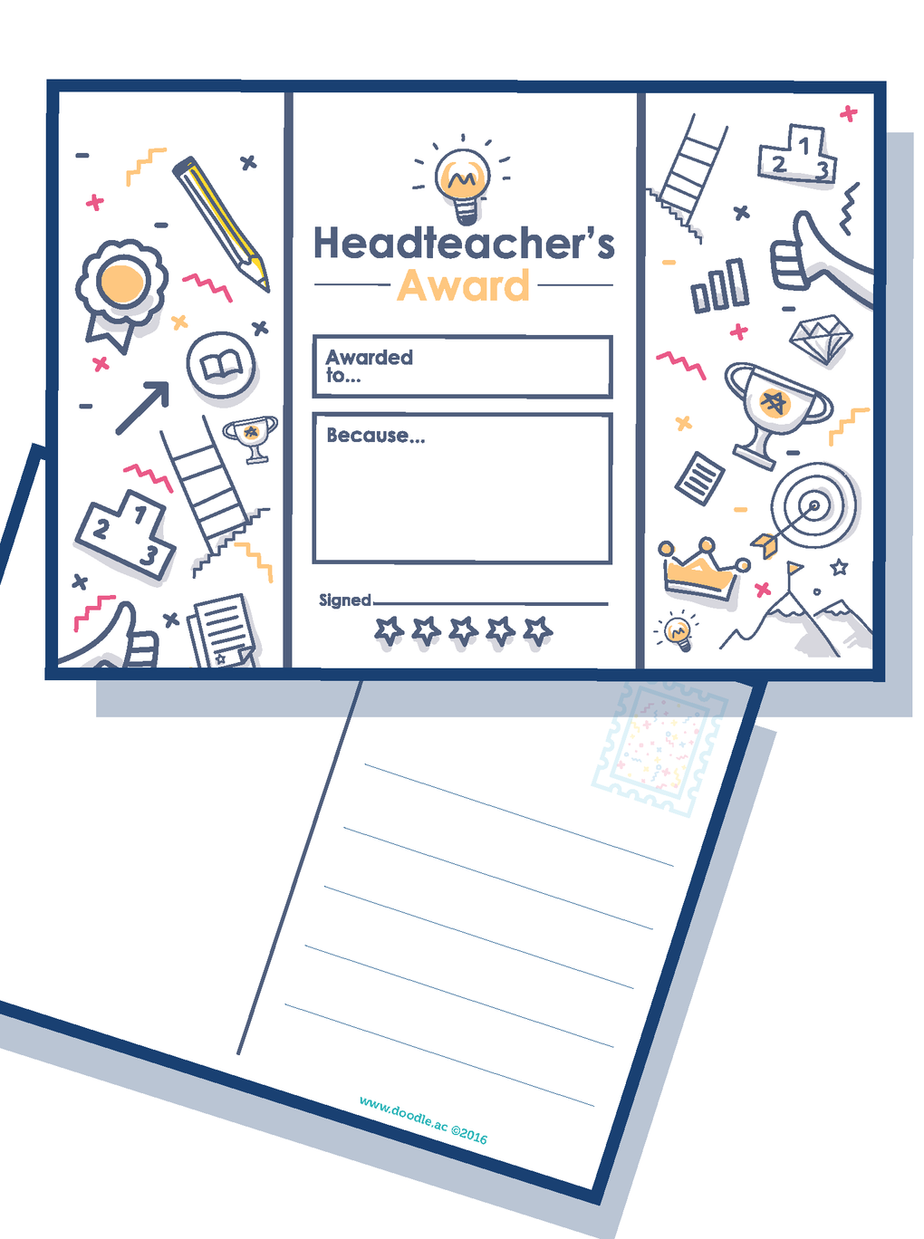 Headteacher award postcard
