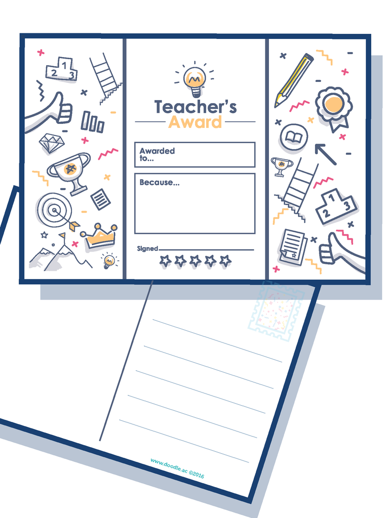 Teacher award postcard
