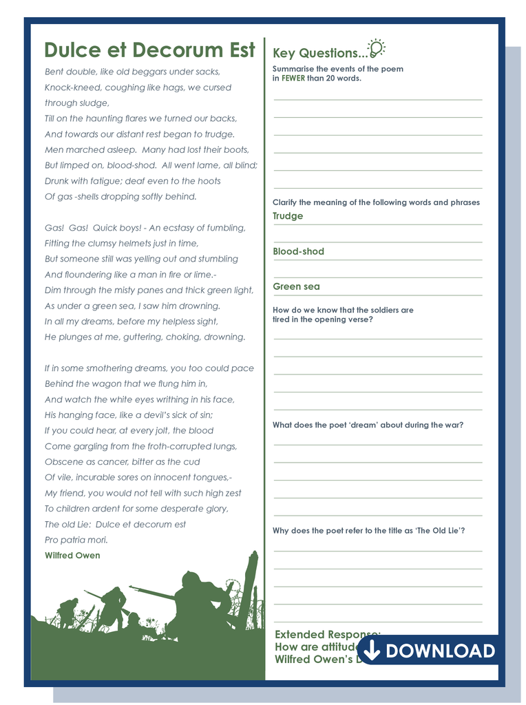Dulce et Decorum Est worksheet download
