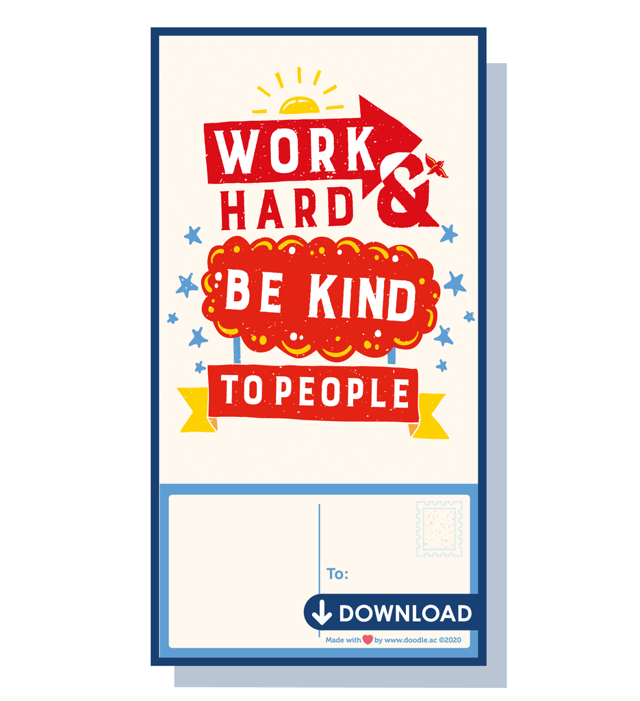 Work hard digital postcard