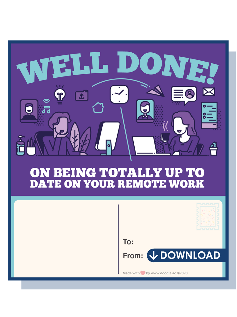 Remote work digital postcard