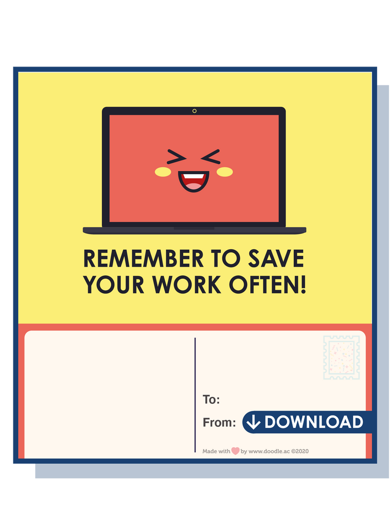 Save your work digital postcard