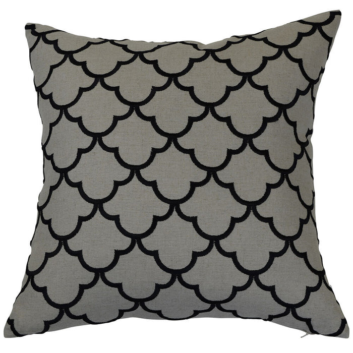 Melody Grey & Black Scallop Pattern Square Cushion Cover, Cushion Cover, Ozark Home