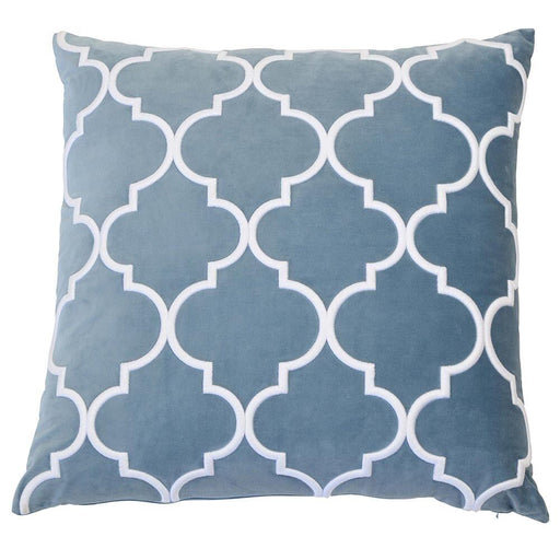 Micah Ocean & White Lattice Embriodered Square Cushion Cover, Cushion Cover, Ozark Home