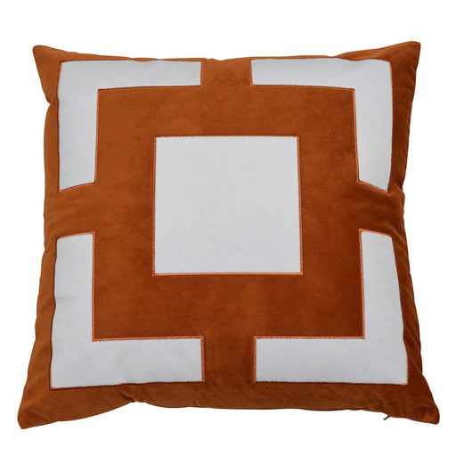 Calgary Rust & White Embroidered Square Cushion Cover, Cushion Cover, Ozark Home