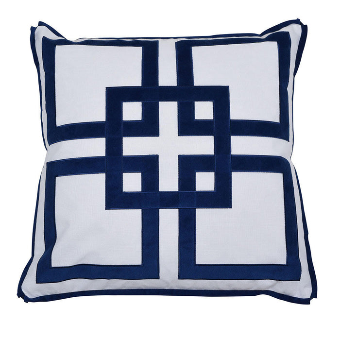 Kali White & Navy Geometric Square Cushion Cover, Cushion Cover, Ozark Home