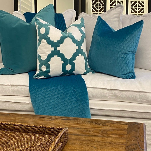 Brighton White & Turquoise Embroidered Square Cushion Cover, Cushion Cover, Ozark Home