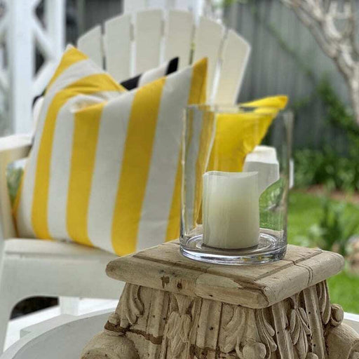 Catania Yellow & White Stripe Outdoor Square Cushion Cover, Cushion Cover, Ozark Home