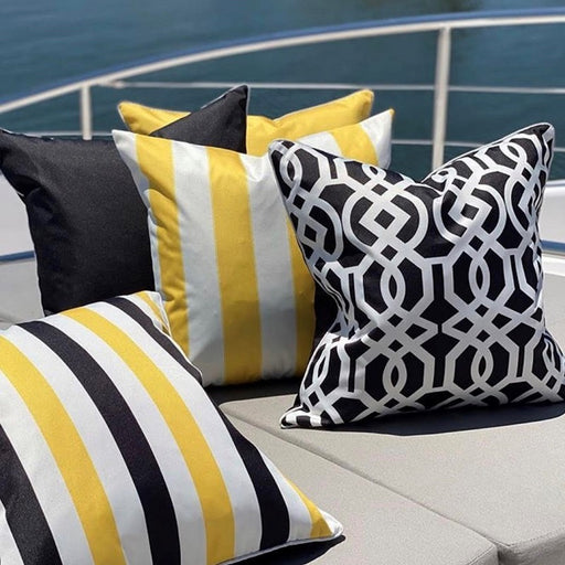 Riviera Black & Yellow Stripe Outdoor Square Cushion Cover, Cushion Cover, Ozark Home