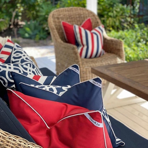 Riviera Navy & Red Stripe Outdoor Square Cushion Cover, Cushion Cover, Ozark Home