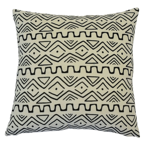 Zambia White & Black Tribal Square Cushion Cover, Cushion Cover, Ozark Home