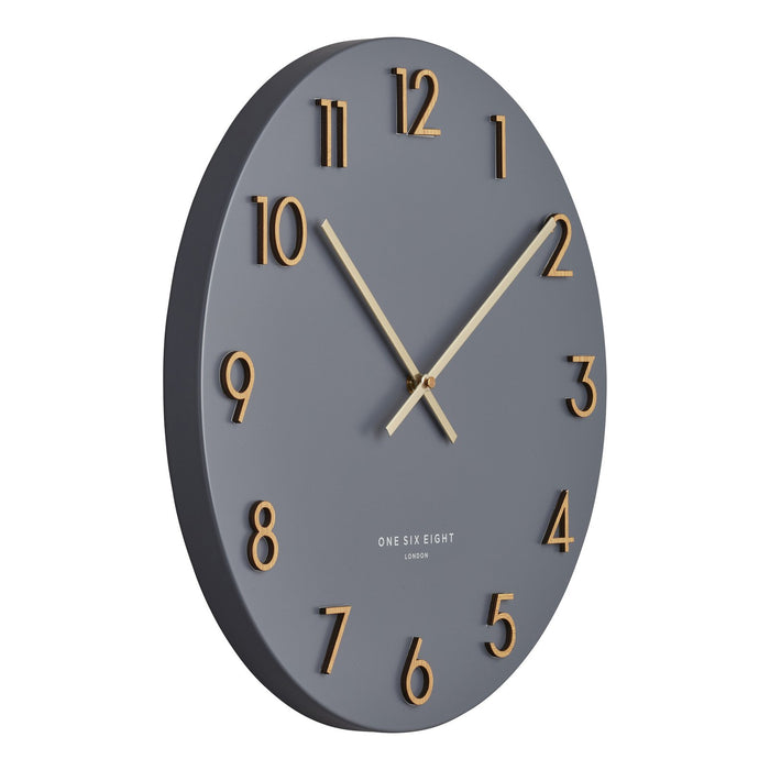 Kayla Charcoal Grey 40cm Metal Wall Clock New, Wall Clocks, Ozark Home