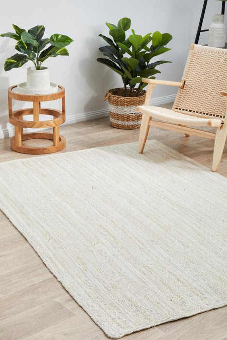 Bagli White Rectangle Chunky Jute Rug, Rugs, Ozark Home
