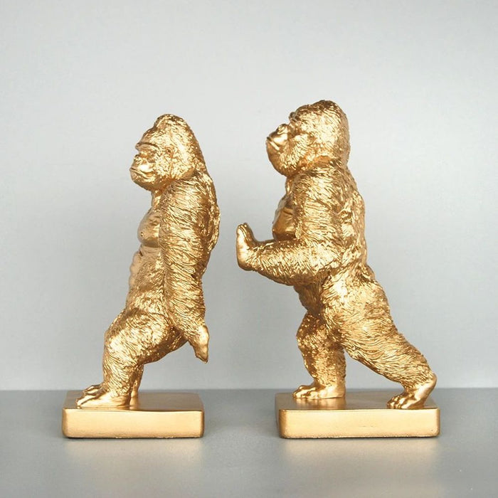 Gorilla (Pushing) Gold Bookends, Bookends, Ozark Home