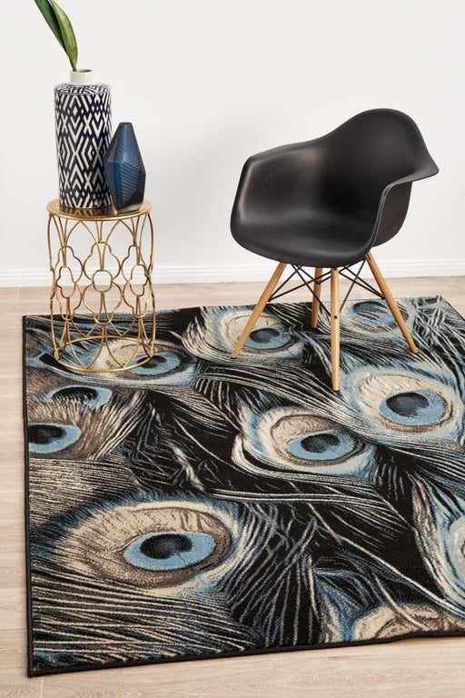 Giza Navy Charming Peacock Contemporary Rug, Rugs, Ozark Home
