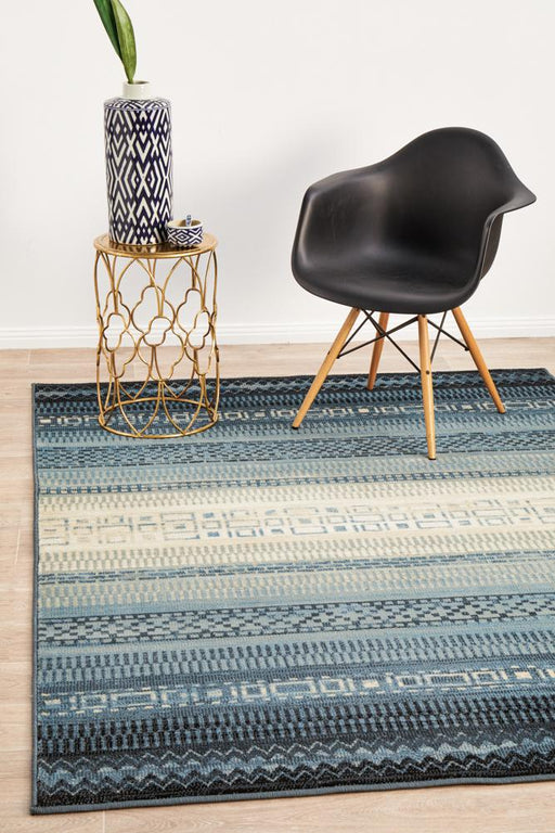 Giza Blue Aztec Strip Pattern Contemporary Rug, Rugs, Ozark Home