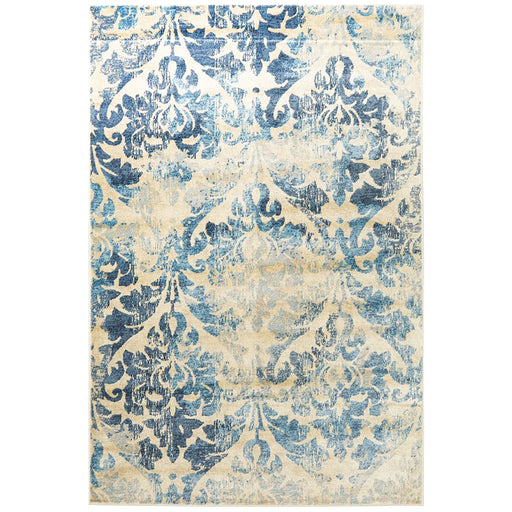 Giza Bone & Blue Faded Pattern Rug, Rugs, Ozark Home