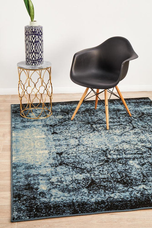 Giza Navy Faded Honeycomb Pattern Contemporary Rug, Rugs, Ozark Home